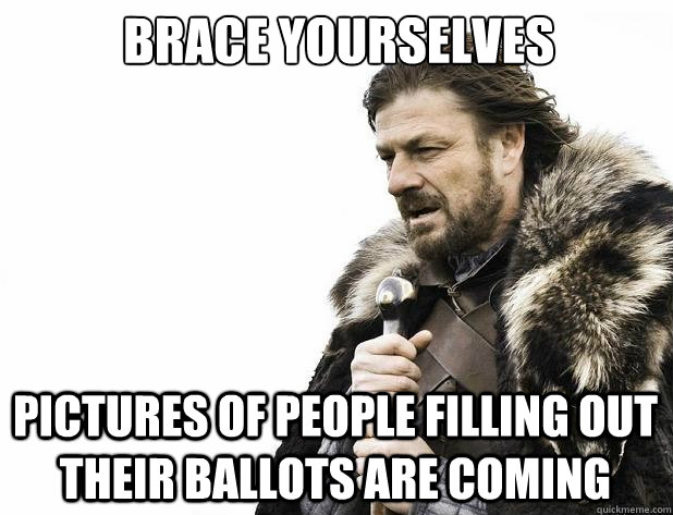 brace yourselves pictures of people filling out their ballot - Brace Yourself