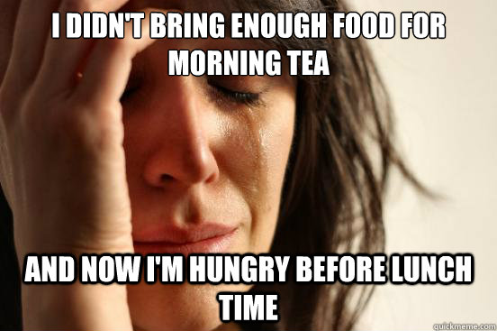 i didnt bring enough food for morning tea and now im hungr - First World Problems