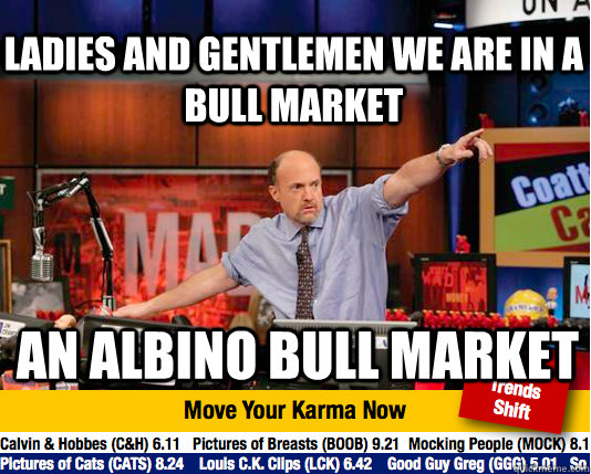 ladies and gentlemen we are in a bull market an albino bull  - Mad Karma with Jim Cramer