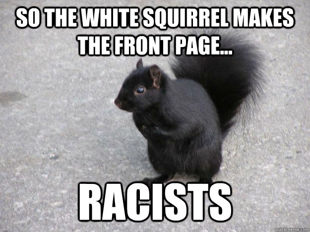 so the white squirrel makes the front page racists -