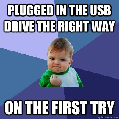 plugged in the usb drive the right way on the first try - Success Kid