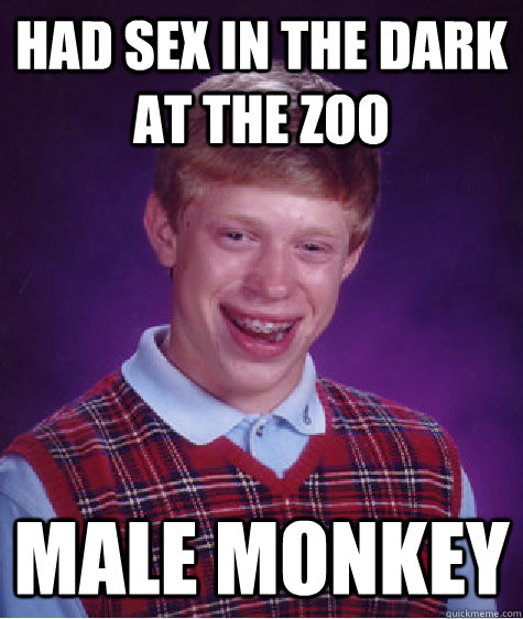 had sex in the dark at the zoo male monkey - Bad Luck Brian
