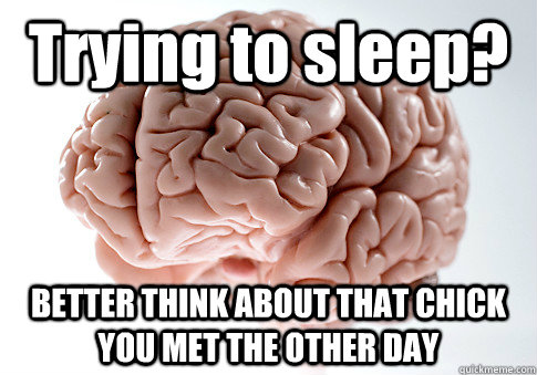 trying to sleep better think about that chick you met the o - Scumbag Brain