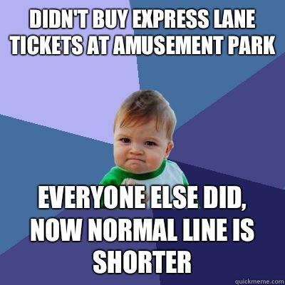 Didnt buy express lane tickets at amusement park Everyone el - Success Kid