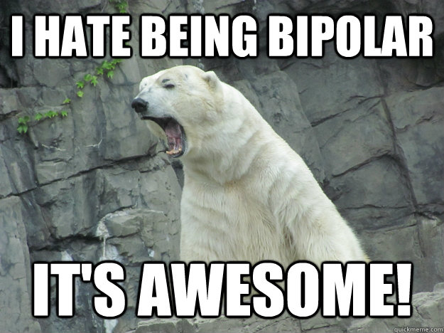 i hate being bipolar its awesome - Pissed Off Polar Bear