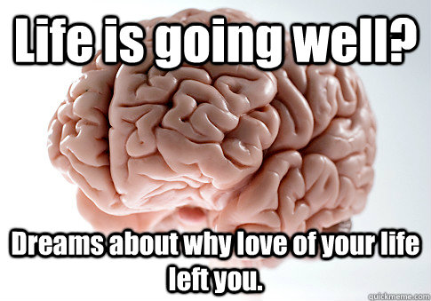 life is going well dreams about why love of your life left  - Scumbag Brain