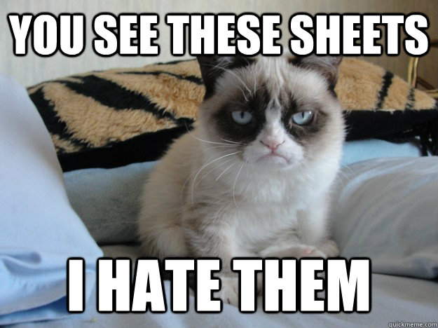you see these sheets i hate them - grumpy cat