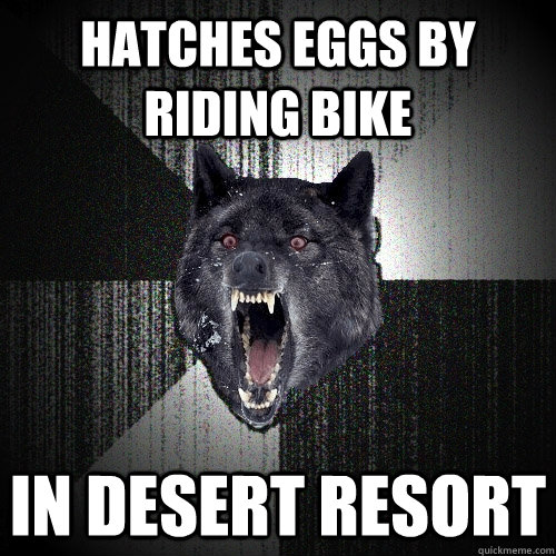 hatches eggs by riding bike in desert resort - Insanity Wolf