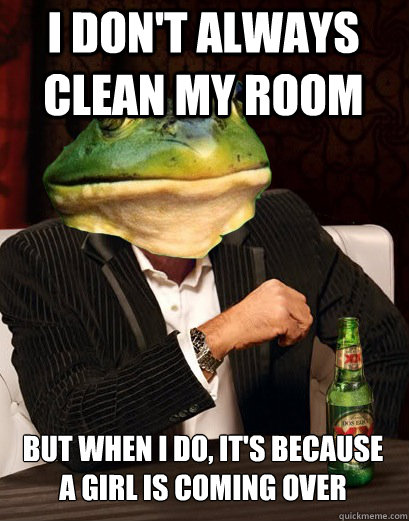 i dont always clean my room but when i do its because a g - The Most Interesting Bachelor Frog