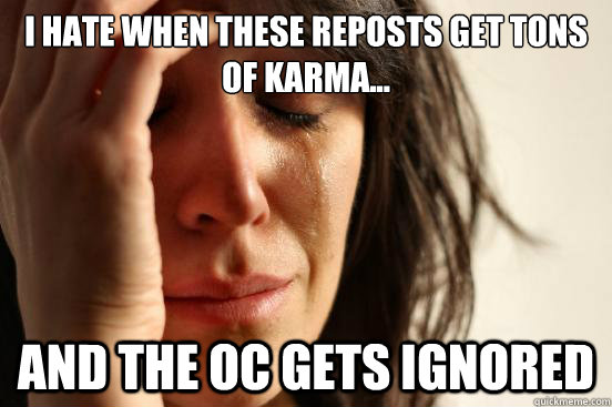 i hate when these reposts get tons of karma and the oc ge - First World Problems