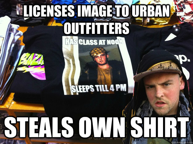 licenses image to urban outfitters steals own shirt - Scumbag Outfitters