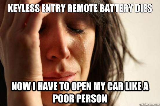 keyless entry remote battery dies now i have to open my car  - First World Problems