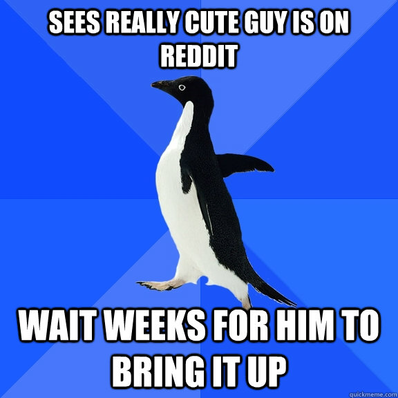 sees really cute guy is on reddit wait weeks for him to brin - Socially Awkward Penguin