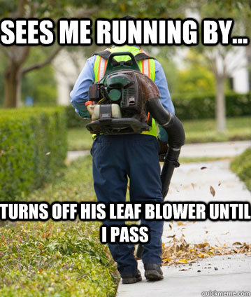 sees me running by turns off his leaf blower until i pass - Mexican Leafblower