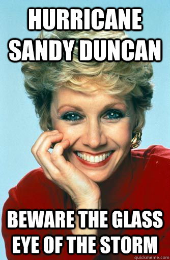 hurricane sandy duncan beware the glass eye of the storm - Sandy Duncan