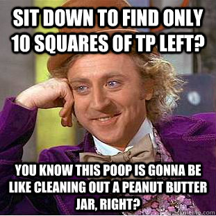 sit down to find only 10 squares of tp left you know this p - Condescending Wonka