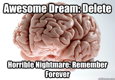 awesome dream delete horrible nightmare remember forever - Scumbag Brain