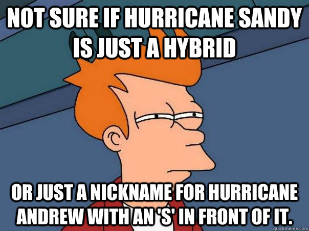 not sure if hurricane sandy is just a hybrid or just a nickn - Futurama Fry