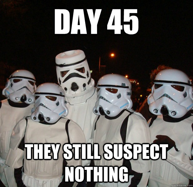 day 45 they still suspect nothing -