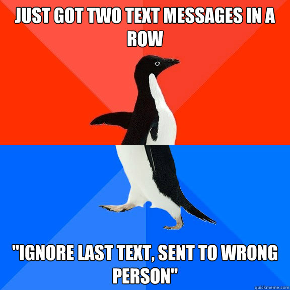 just got two text messages in a row ignore last text sent  - Socially Awesome Awkward Penguin