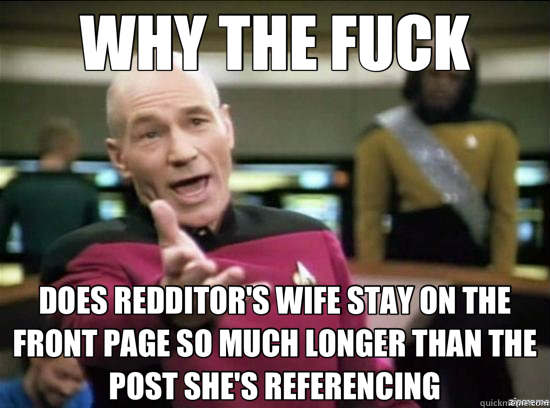 WHY THE FUCK DOES REDDITOR'S WIFE STAY ON THE FRONT PAGE SO  - Annoyed Picard HD