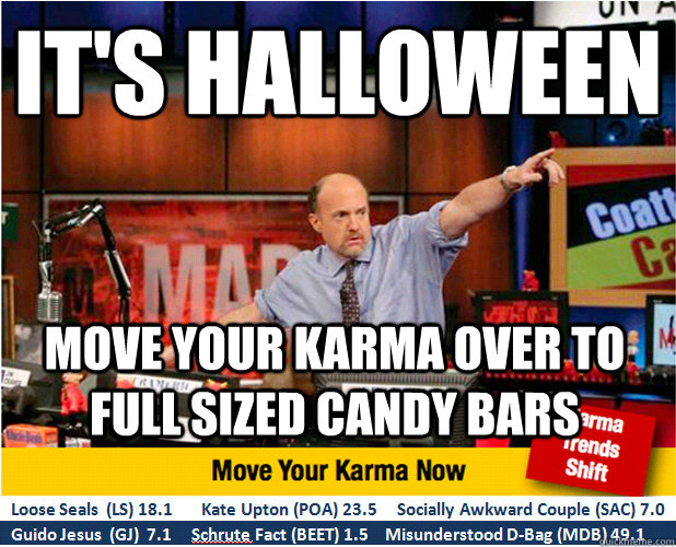 its halloween move your karma over to full sized candy bars - Jim Kramer with updated ticker