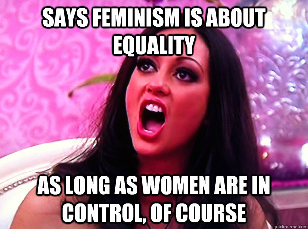 says feminism is about equality as long as women are in cont - Feminist Nazi