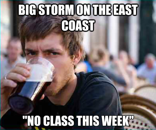 big storm on the east coast no class this week - Lazy College Senior
