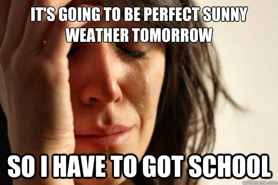 its going to be perfect sunny weather tomorrow so i have to - First World Problems