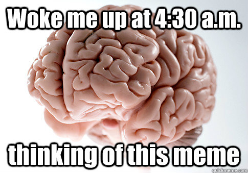 woke me up at 430 am thinking of this meme  - Scumbag Brain