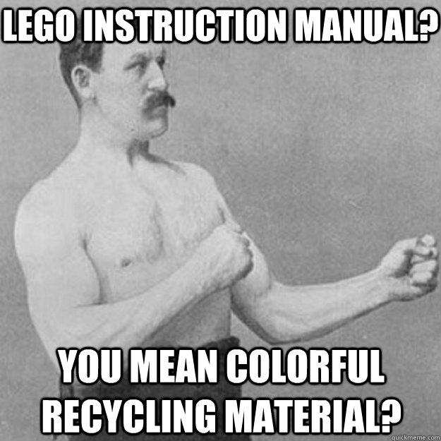 lego instruction manual you mean colorful recycling materi - overly manly man