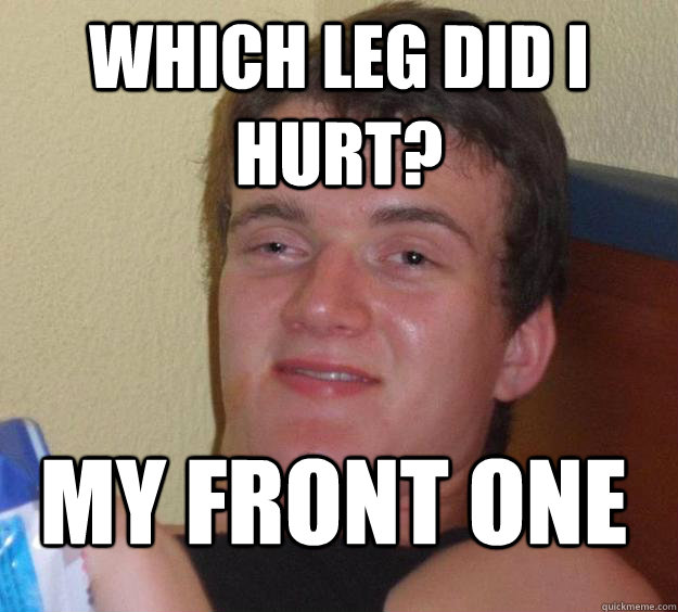 which leg did i hurt my front one - 10 Guy