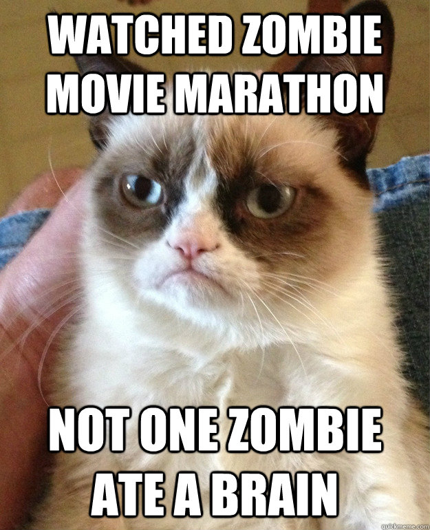watched zombie movie marathon not one zombie ate a brain - Grumpy Cat