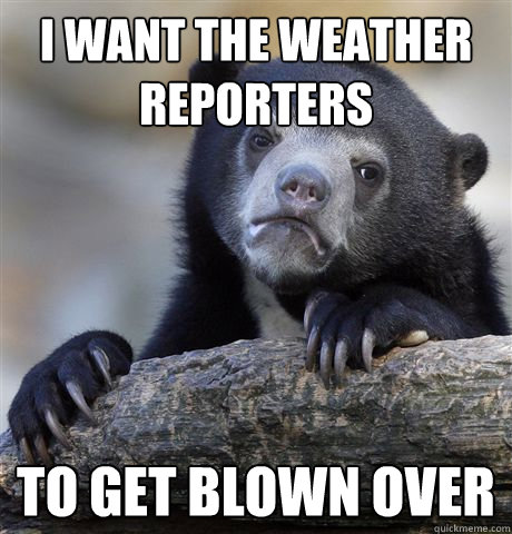 i want the weather reporters to get blown over - Confession Bear