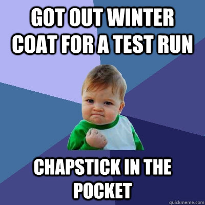 got out winter coat for a test run chapstick in the pocket - Success Kid