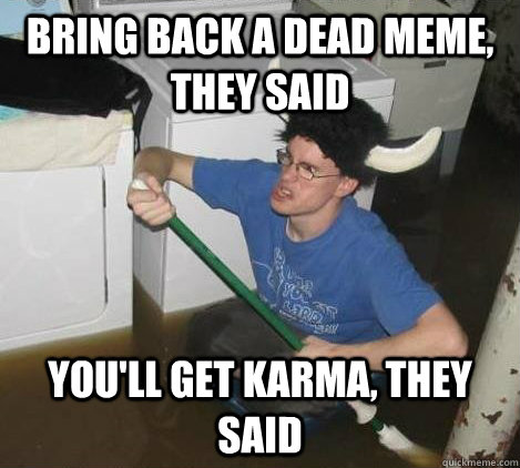 bring back a dead meme they said youll get karma they sai - They said