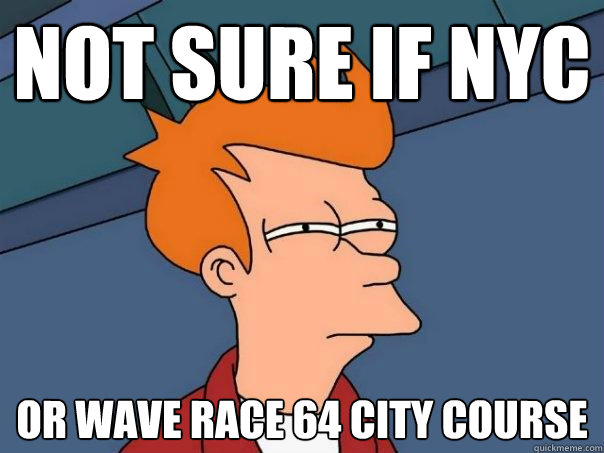 not sure if nyc or wave race 64 city course - Futurama Fry