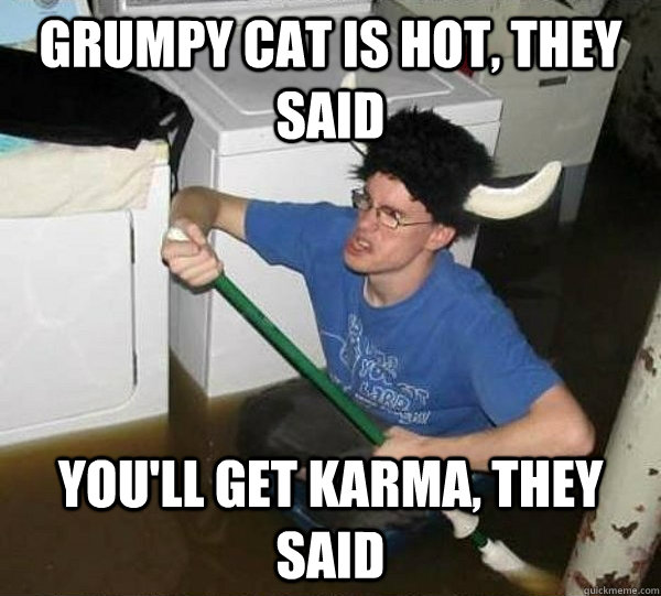 grumpy cat is hot they said youll get karma they said - They said