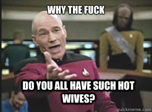 why the fuck do you all have such hot wives  - Annoyed Picard