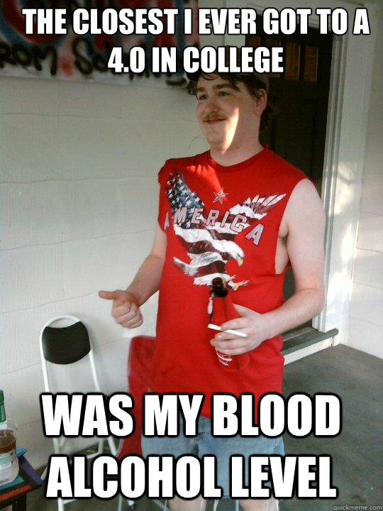 the closest i ever got to a 40 in college was my blood alco - Redneck Randal