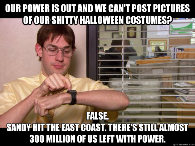 our power is out and we cant post pictures of our shitty ha - Costume Schrute