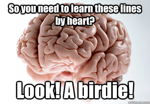 so you need to learn these lines by heart look a birdie  - Scumbag Brain