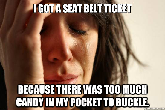 i got a seat belt ticket because there was too much candy in - First World Problems