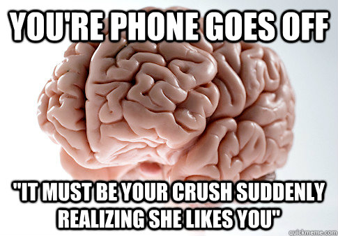 youre phone goes off it must be your crush suddenly realiz - Scumbag Brain