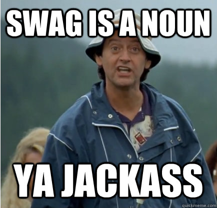 swag is a noun ya jackass - ya jackass