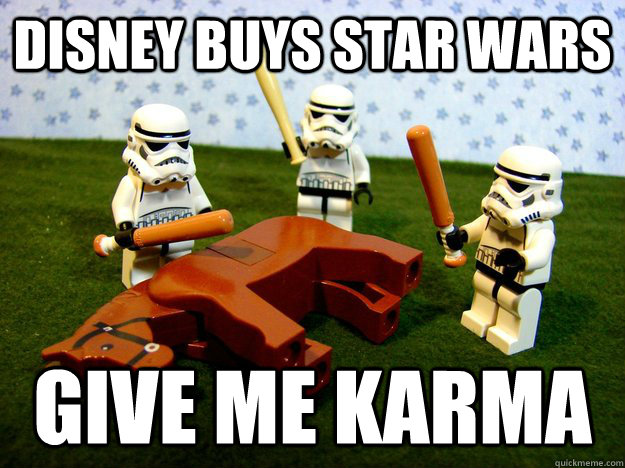 disney buys star wars give me karma - lego stormtroopers