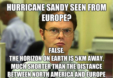 hurricane sandy seen from europe false the horizon on eart - Dwight