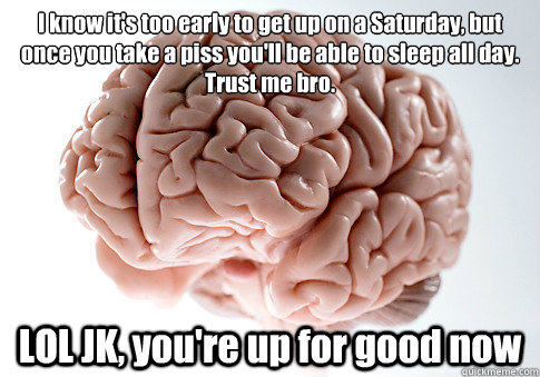 i know its too early to get up on a saturday but once you  - Scumbag Brain