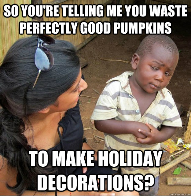 so youre telling me you waste perfectly good pumpkins to ma - Skeptical Third World Kid