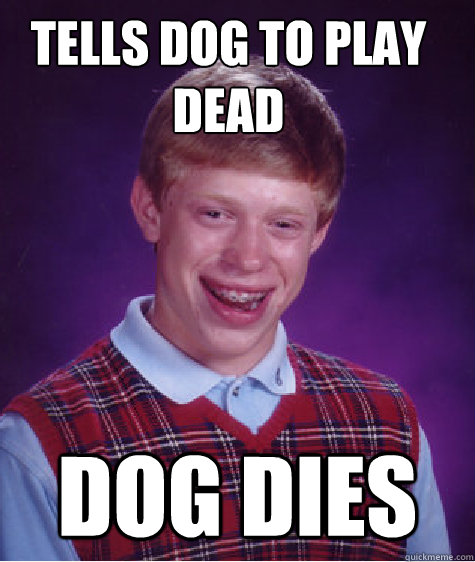tells dog to play dead dog dies - Bad Luck Brian